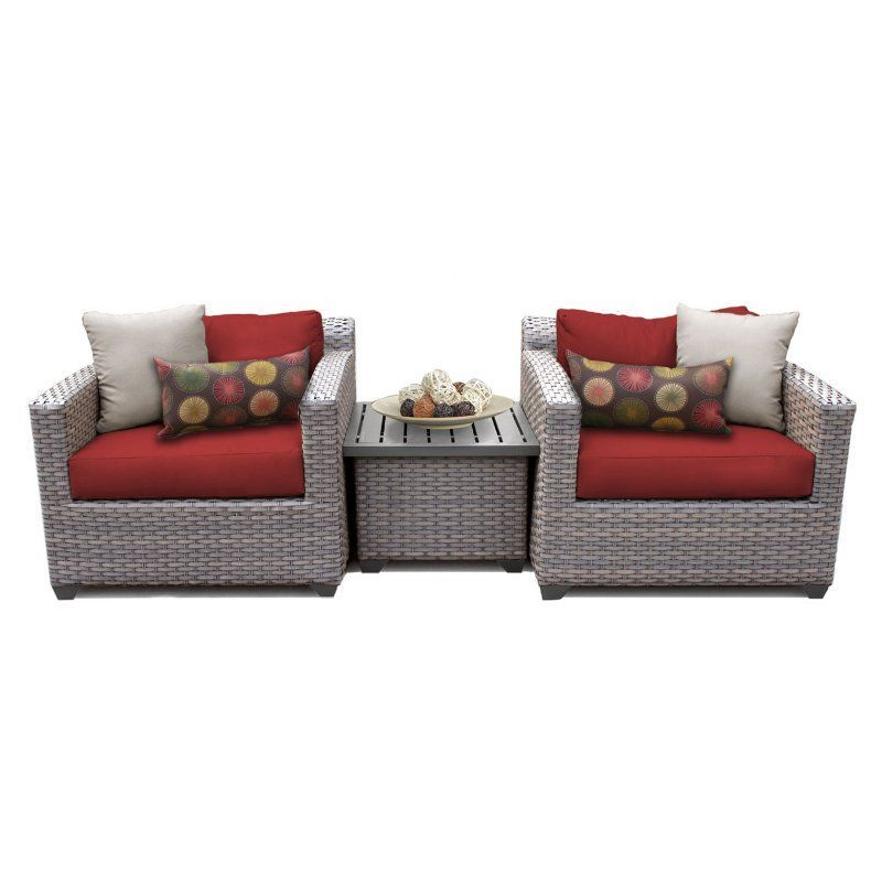 Outdoor TK Classics Florence Wicker 3 Piece Patio Conversation Set With End  Table And 2 Sets Of Cushion Covers Wheat / Gray