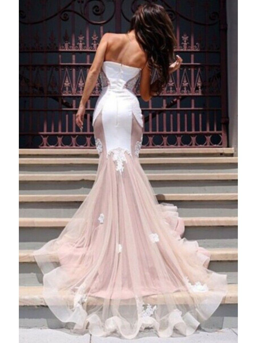 Trumpetmermaid sweetheart lace long prom evening formal dresses
