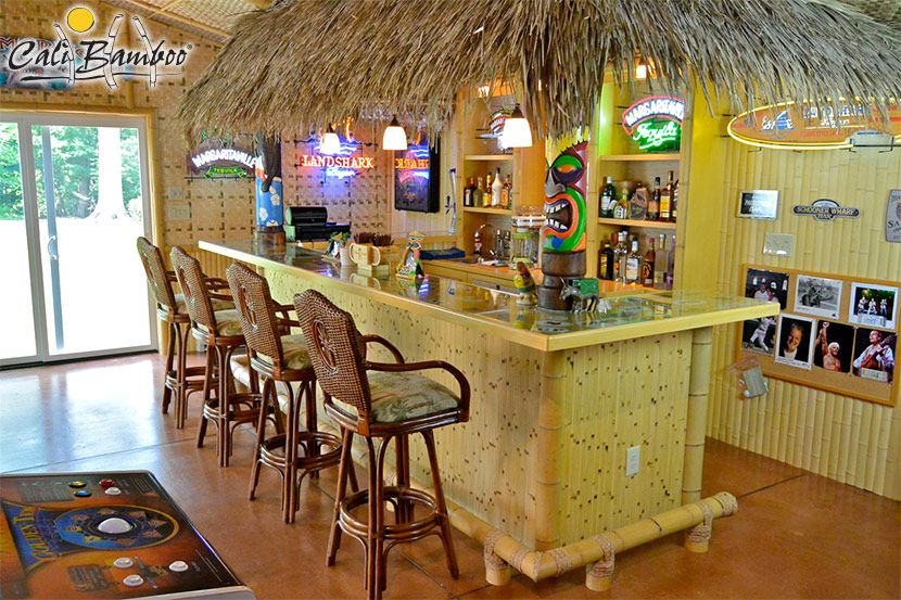 Indoor bamboo tiki hut bar yeah there 39 s no way we have space for this but bookmarking for - Bamboo bar design ideas ...