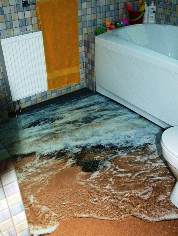 13 3d Bathroom Floor Designs That Will Mess With Your Mind Unusual Bathrooms Floor Murals Floor Art