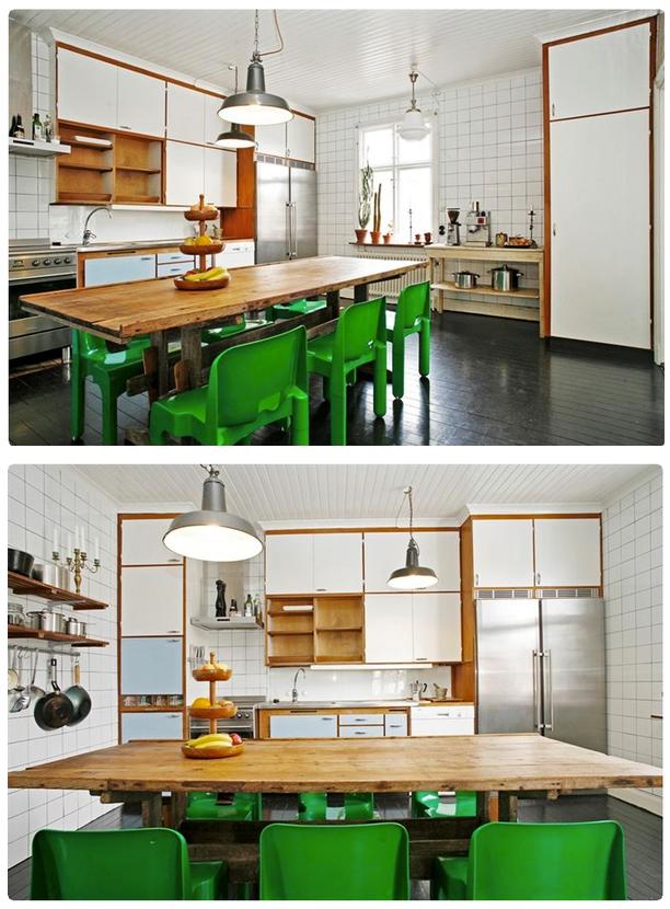 Lamp, kleuren, tegels, combinatie hout & wit
