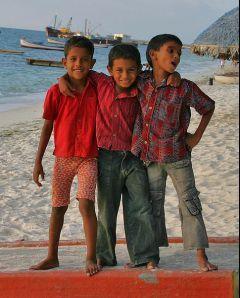kids merrying at a beach at Kavaratti, Lakshadweep.