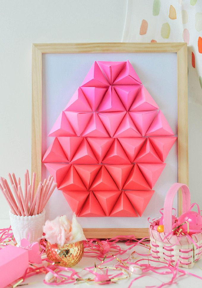 DIY Geometric Paper Easter Egg Craft Ideas & Tutorials   For More Great DIY Craft Projects & Other Fun Easter Decorating Ideas Check Out DIYReady.com