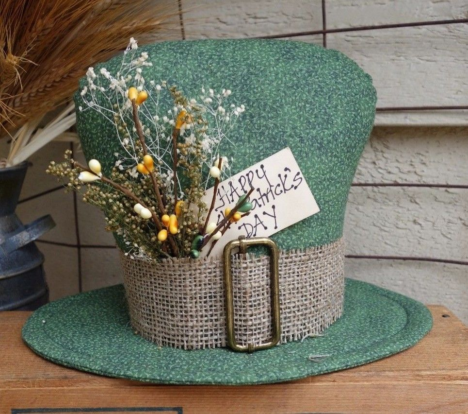 shamrock st patrick 39 s day primitive hat leprechaun. Black Bedroom Furniture Sets. Home Design Ideas