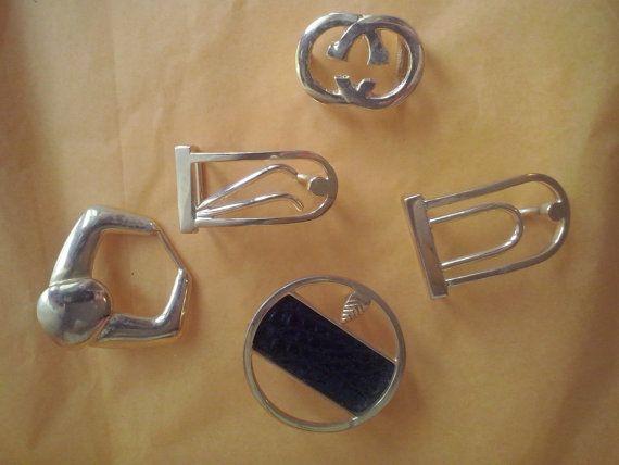 5 boucles de ceinture en laiton vintage, boucles en laiton massif, différents modèles (26/28) (SAK 8)