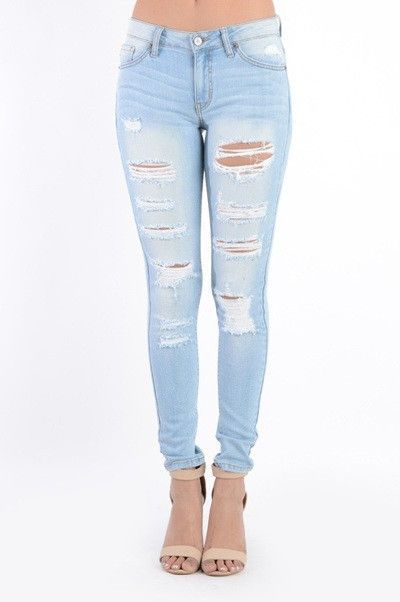 Ripped Jeans are perfect year round! These have a bit of stretch ...