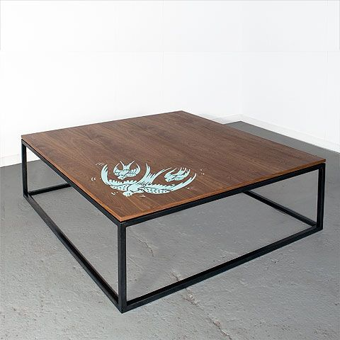 """The 1X1 line is an Uhuru Classic. Simple, well proportioned, apartment-sized furniture pieces formed out of 1"""" steel tubing and 1"""" thick solid, sustainable wood tops. Shown here with a playful Japanese woodcut motif screen printed to the top. Graphic embellishment is optional."""