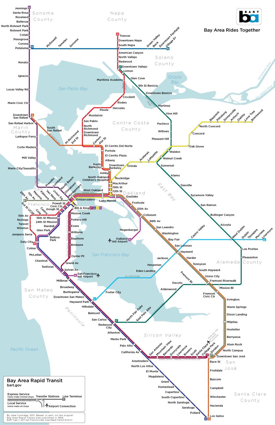 Expanded BART System Map Based On Original Plans Incorporating - Map san francisco mission district