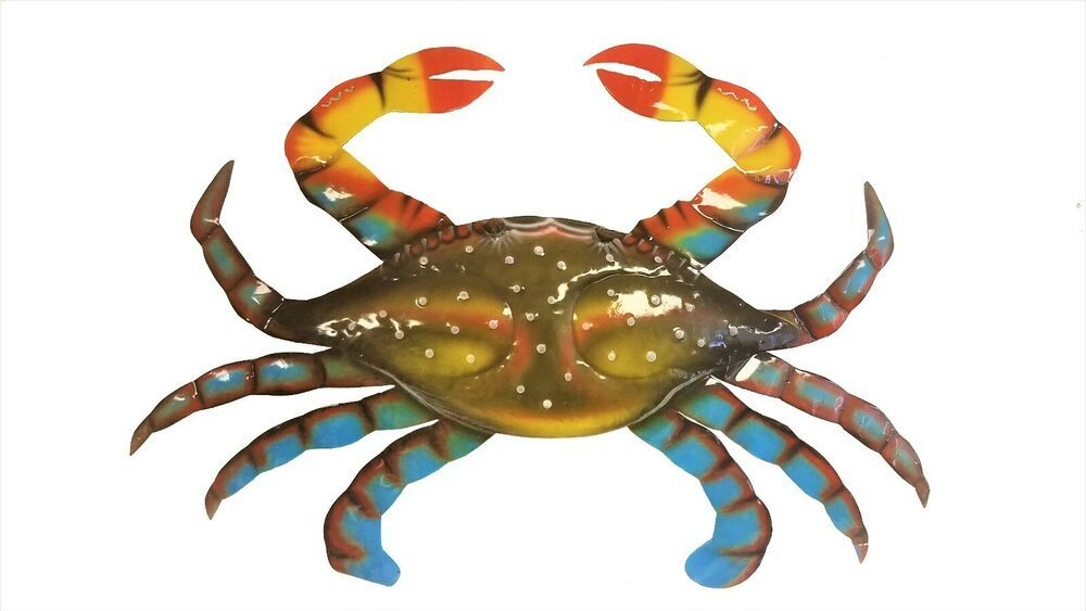 Gorgeous Large 21 Wide Handchiseled Painted Metal Blue Crab Wall Decor Handmade Tropical Metallic Paint Blue Crab Wall Decor