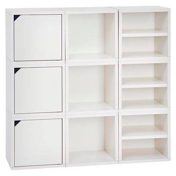 Superbe Way Basics Stackable Connect Cube 9 Cubby Modular Storage Unit   White