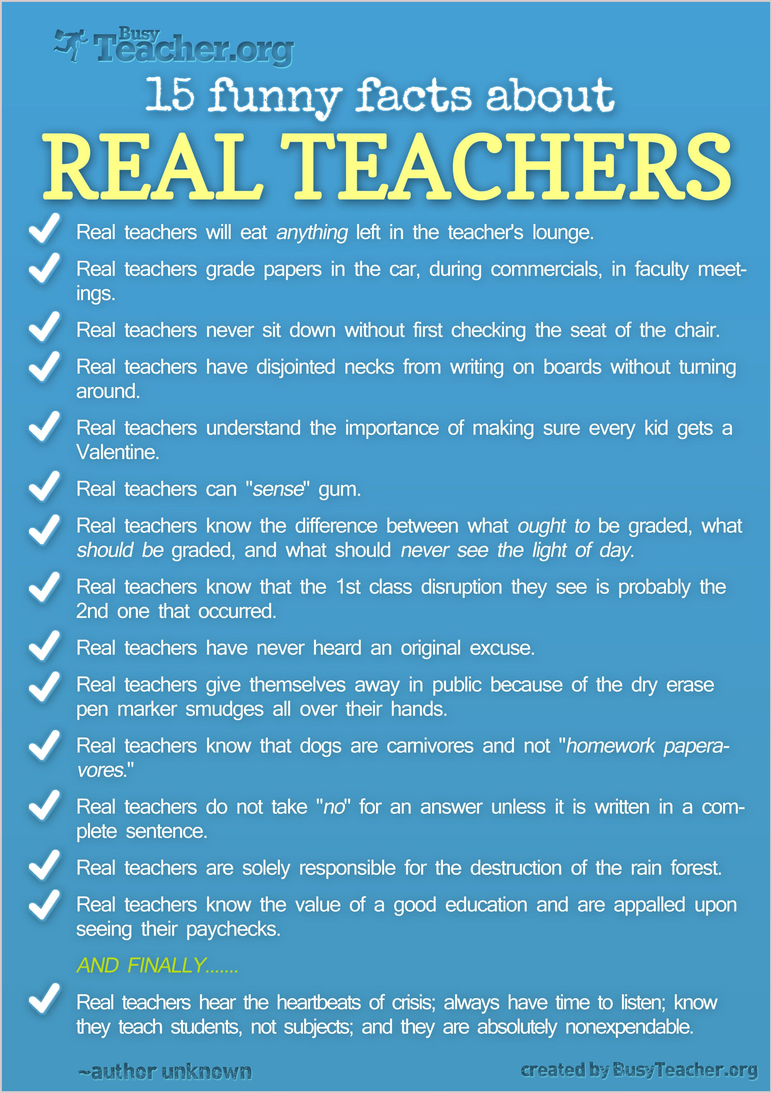 15 Funny Facts About Real Teachers | Infographics | Pinterest ...