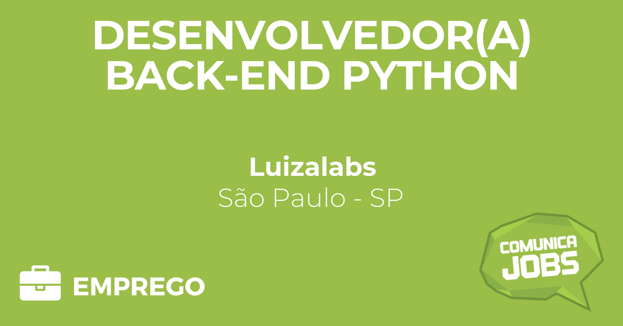 Desenvolvedor(a) BackEnd Python Comunica Jobs Emprego
