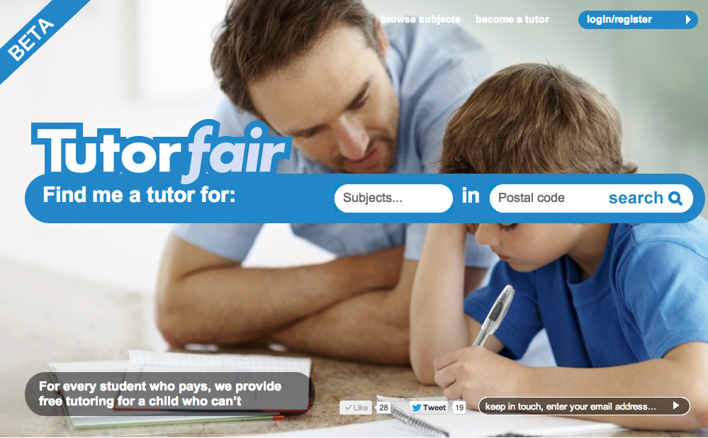 This is our website. Go to www.tutorfair.com and search for the subject you want, type in your postcode, and you'll see videos and reviews of a shortlist of recommended tutors who can come to you. All the tutors have been vetted, recommended by other parents and police checked. When you find someone you like, simply email them directly or choose an available time slot and book them online.