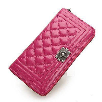 DUSUN Luxury Genuine Leather Lock Rhombus Design Wallet Women Women Wallet Long Coin Purse Clutch Bag Women High Quality
