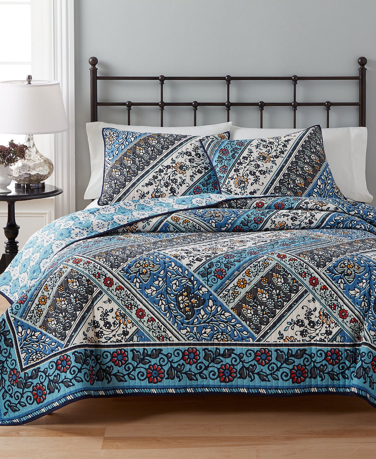 CLOSEOUT! Martha Stewart Collection Antique Market Reversible Quilt ...