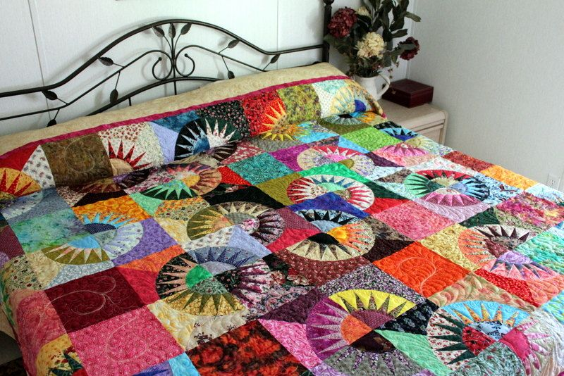 Bed Quilt NEW YORK BEAUTY Scrappy Traditional Bright Modern Bedding, via Etsy.