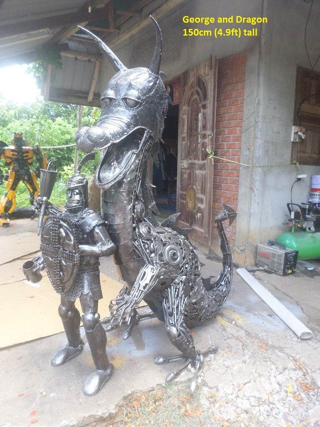 'George (life-size) and the Dragon' sculpture, scrap metal art - photo by scrap-metal-art-thailand