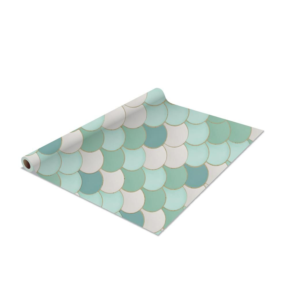 Simplify 2 Pack Mermaid Self Adhesive Shelf Liner In Mint Green