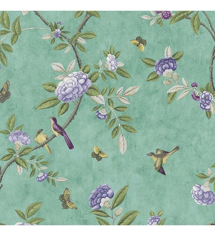Papel pintado rom ntico con flores moradas y p jaros fondo for Papel pintado romantico
