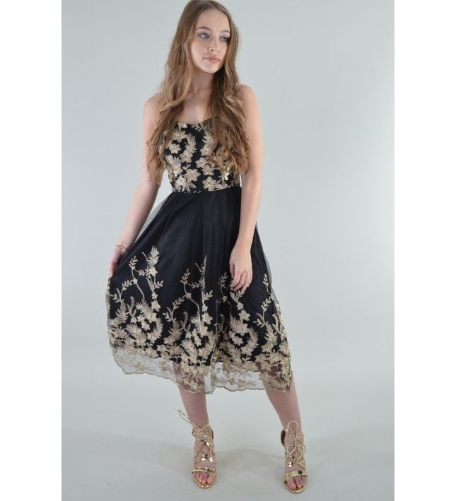 5819aafbc52 LMS Flare Midi Dress With Embroidered Metallic Floral Detail ...