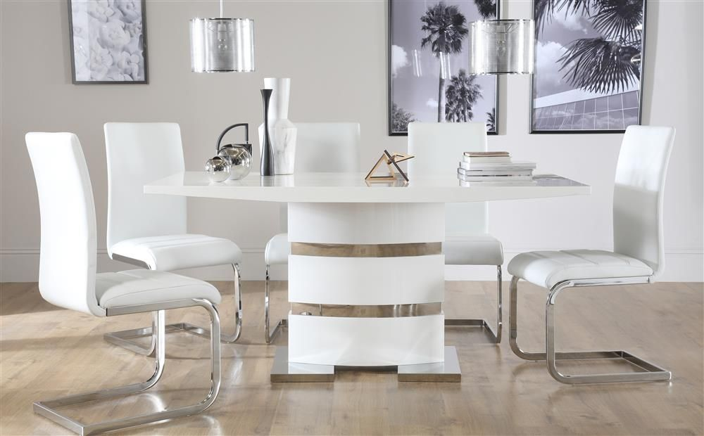 Komoro White High Gloss Dining Table