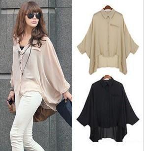 De Nova moda feminina camisa tamanho livre chiffon 4 cores blusa LSH8089 transporte gratuito $9,69