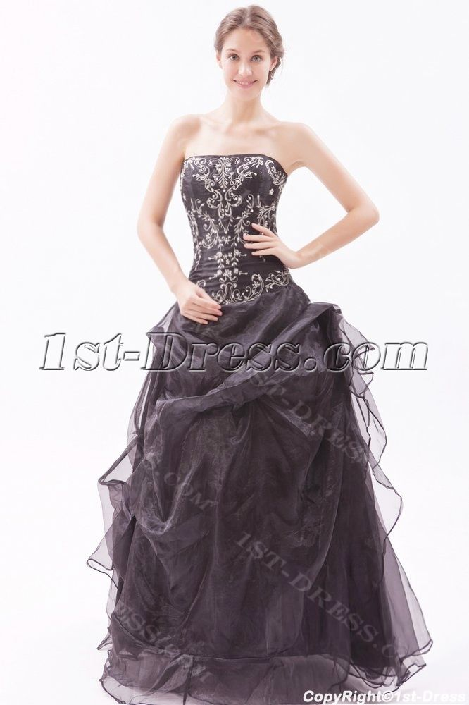 b26d06f529e Embroidery Black Strapless Quinceanera Dresses for Large Size 1st-dress.com