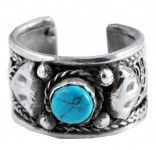White Metal Turquoise Ring