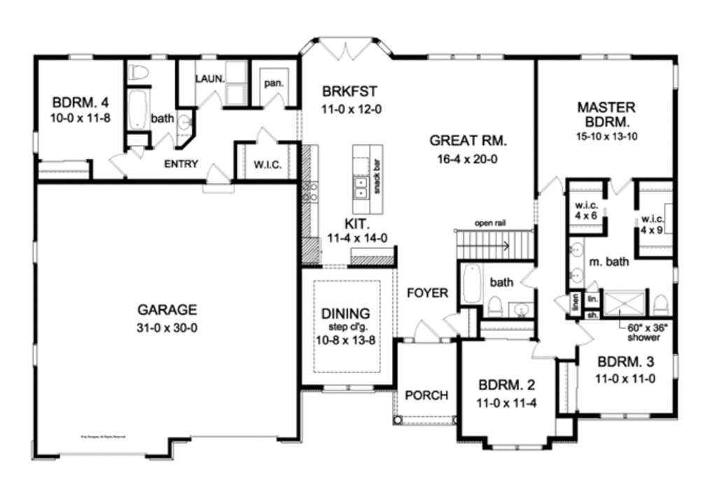Ranch Style House Plan - 4 Beds 3 Baths 2300 Sq/Ft Plan ... on