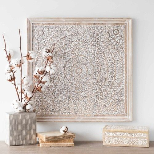 Bleached Mango Wood Floral Wall Art Cottage Carving Maisons Du Monde Carved Wall Art Floral Wall Art Wall