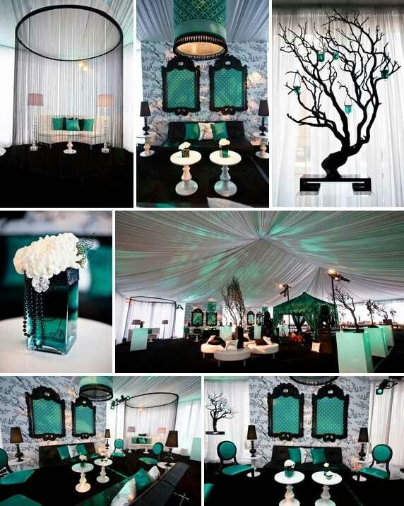 black and teal themes | Black and teal wedding ideas. | Teal/rose ...