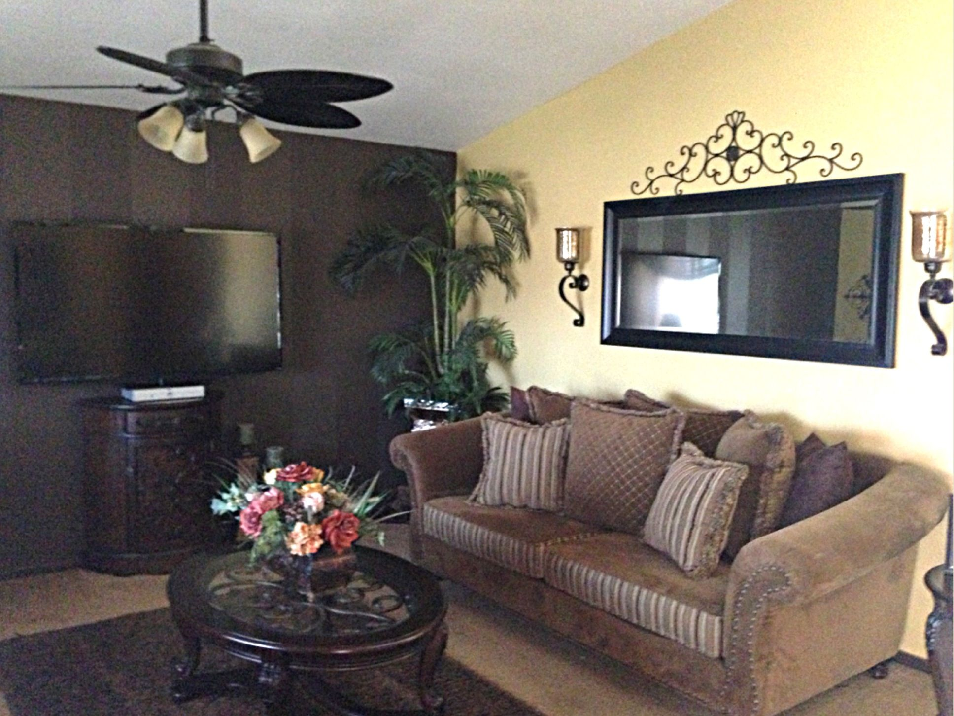 Exceptional Loving Room Decoe Iron Decor My Living Room❤ Dark Brown Striped Wall Ashley  Furniture And
