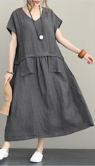333232354294f women-dark-gray-linen-dresses-oversized-v-neck-short-sleeve-traveling-dress -vintage-pockets-baggy-dresses-maxi-dresses