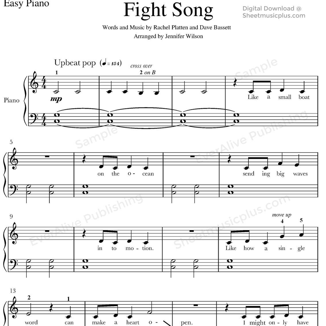 Fight Song By Rachel Platten For Easy Piano Sheet Music Piano