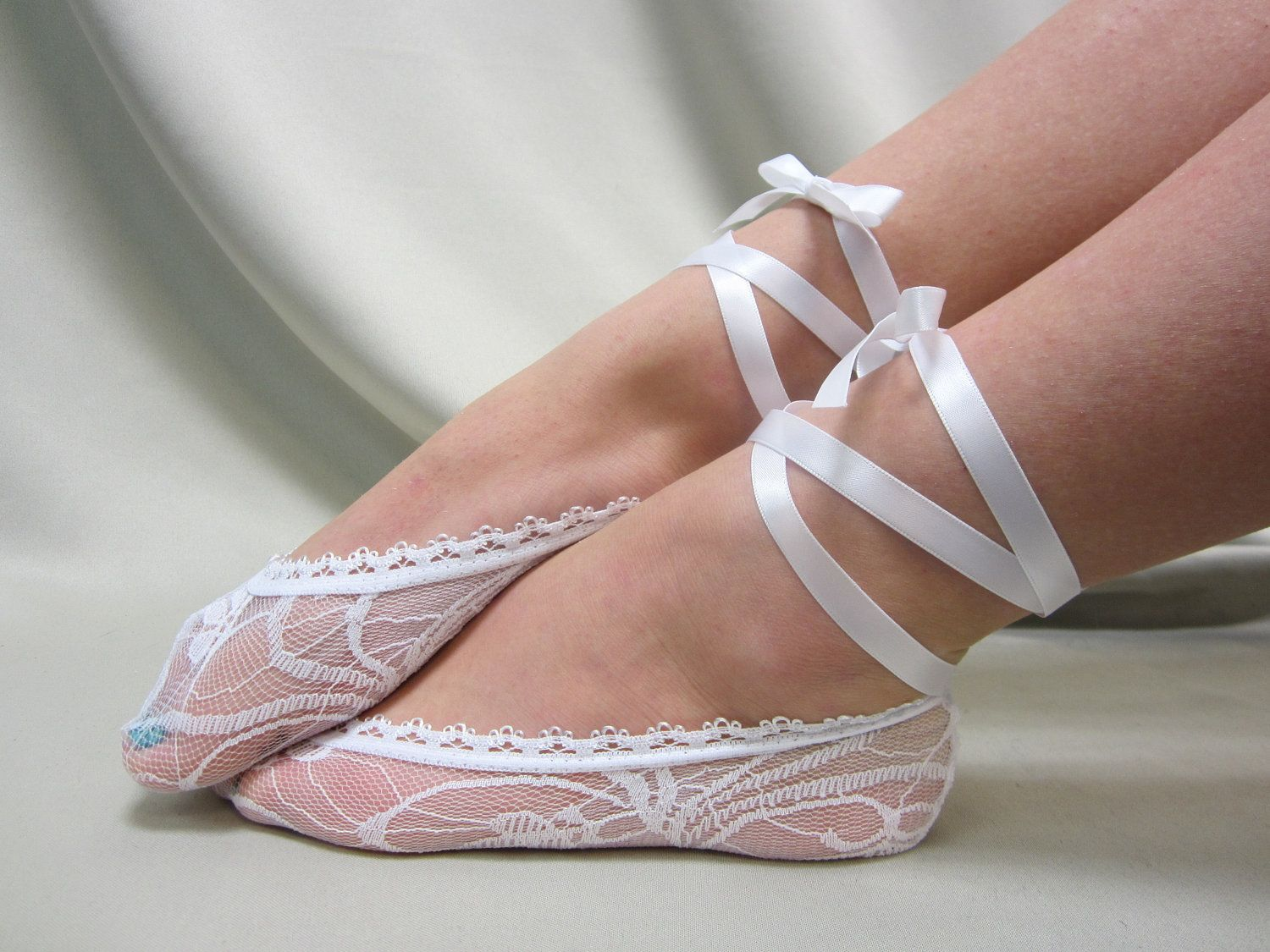 Ballerina Bridal lace up white footlets slippers for