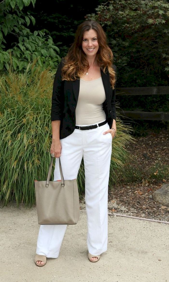 40 Casual White Slacks for Spring Summer Airport Style #whiteslacks