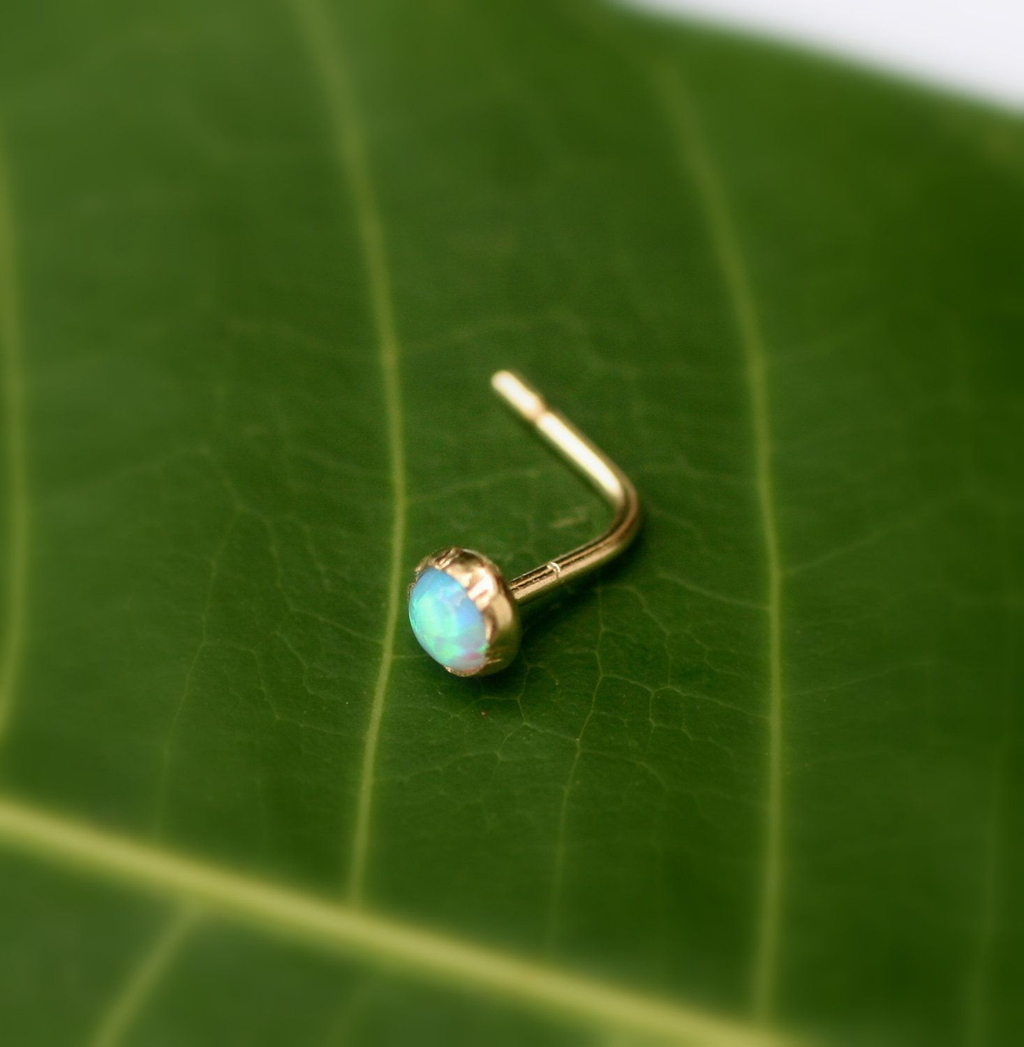 Nose Ring 14K Yellow Gold Filled 3mm Blue Opal Nose Ring Piercing Nose Stud