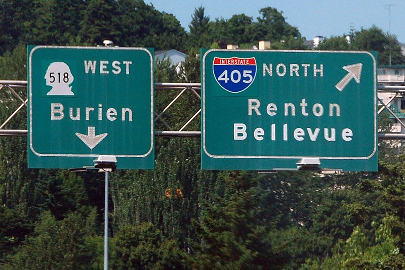 Washington interstate 405 and state highway 518 sign
