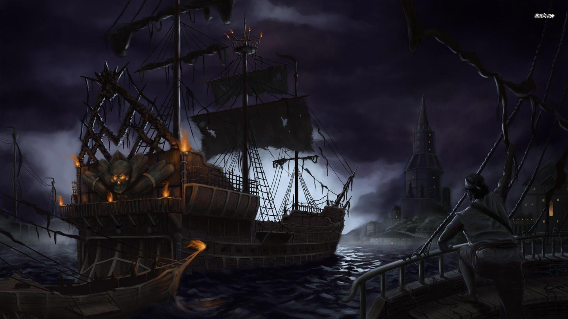Fantasy ship cliff jolly roger pirate ship rock lightning wallpaper - Pirate Ship In Attack