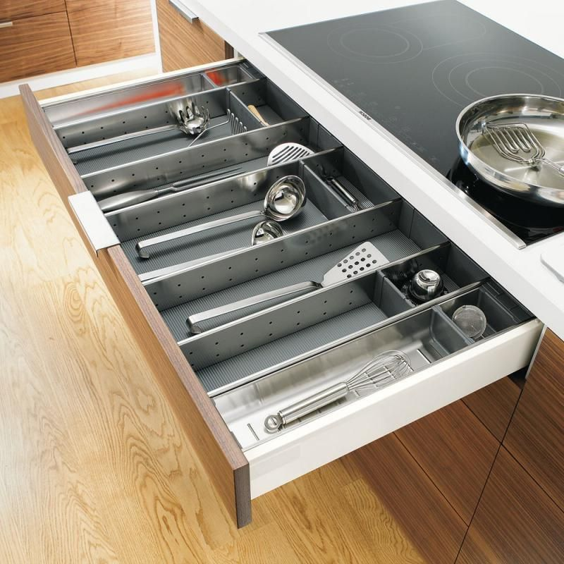 The Orga Line Utensil Divider By Blum Is A Premium Quality Metal Drawer Insert Sure To Add The Fin Kitchen Cabinet Design Kitchen Accessories Drawer Dividers