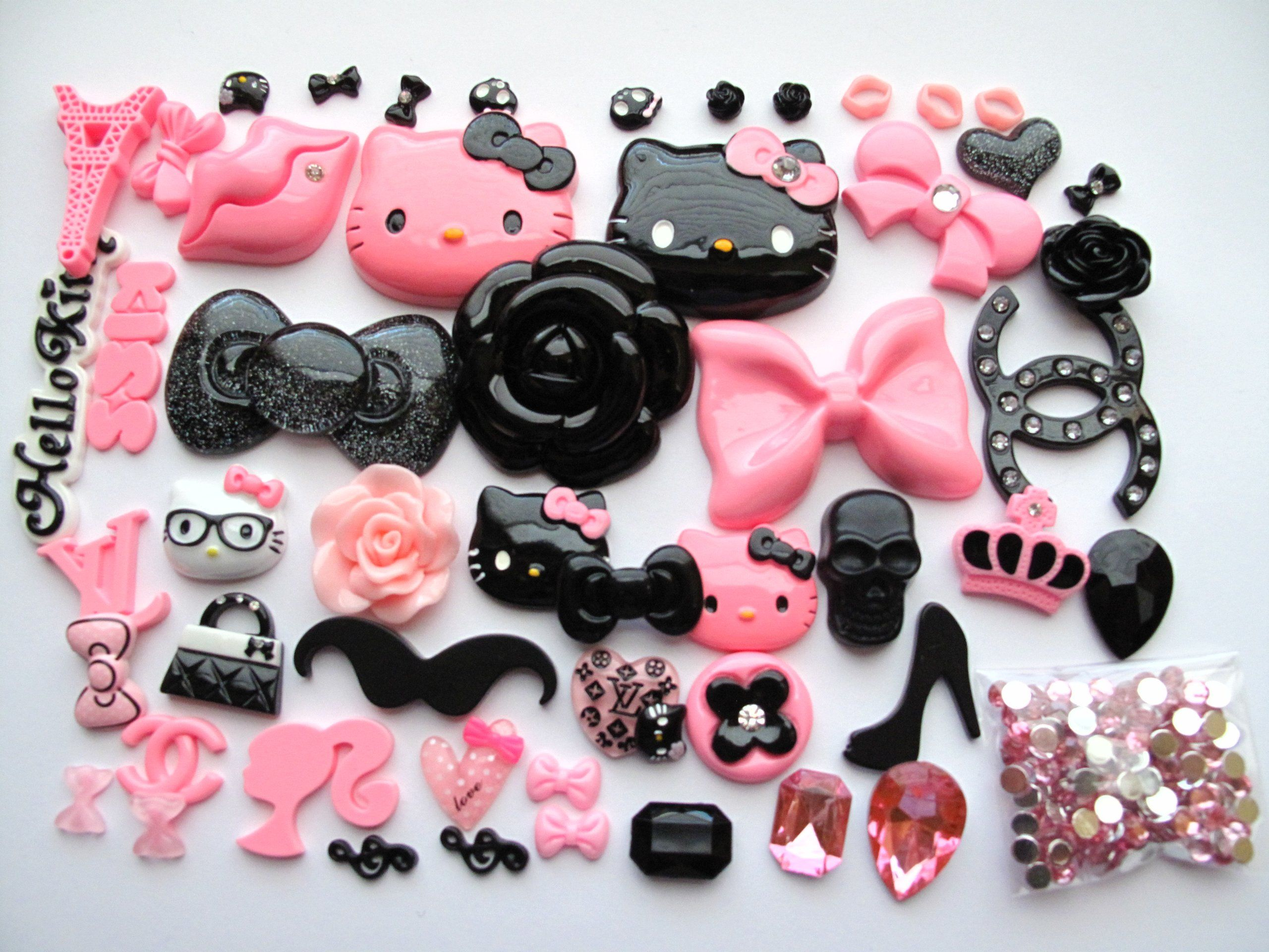 54 Mix Pink/Black HKitty Kawaii Bling Bling Flat Back Resin Cabochon Deco Kit Cell Phone:Amazon:Cell Phones & Accessories