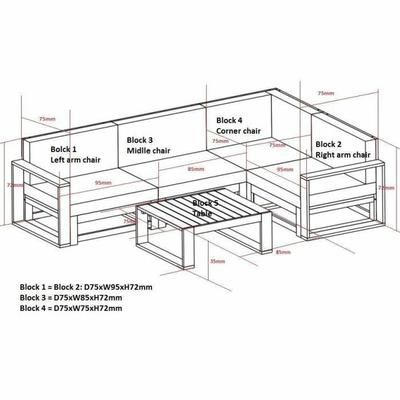 FINLANDEK - Salon de jardin 5 places avec angle modulable en - salon d angle de jardin