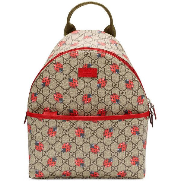 Gucci Children'S Gg Ladybugs Backpack (€605) ❤ liked on Polyvore featuring bags, backpacks, accessories, children, girls, red, print canvas backpack, zipper bag, canvas bag and canvas rucksack