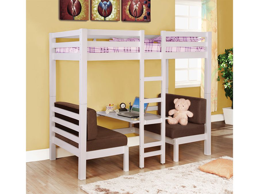 3ca06028d765 Buy our solid wood twin over twin size Convertible Loft Bed 460273 in a  white finish featuring a unique convertible central table ☆ Choose from our  huge ...