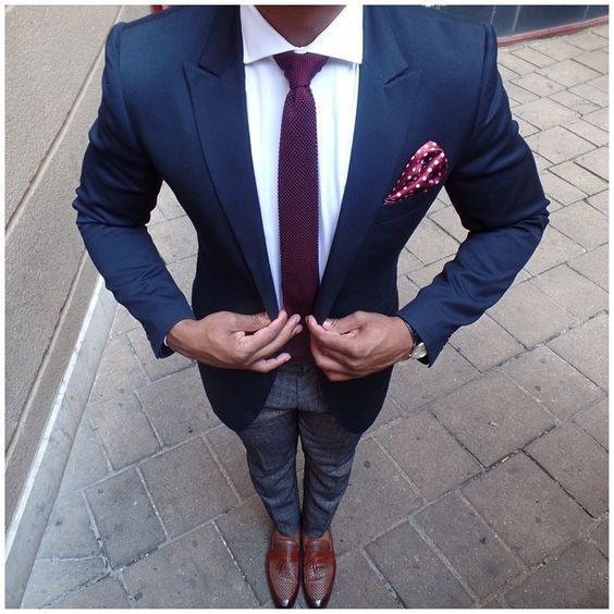 Men's Purple Fashion Style. 43 Pins Team a blue blazer with a white dress shirt for a sharp classy look. The colors come together almost garishly. Fortunately the tie is a bit muted, and the accents and accessories help keep this look grounded. Look for business See more.