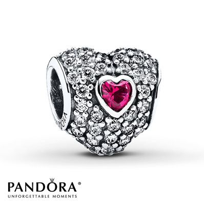 Pandora Heart Charm Synthetic Ruby Sterling Silver