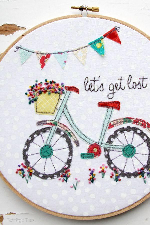 Let\'s Get Lost Summer Bicycle Embroidery Hoop Art - | BORDADOS ...