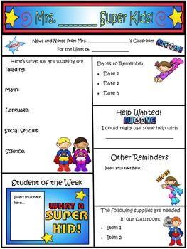 super kids theme newsletter template word pinterest newsletter