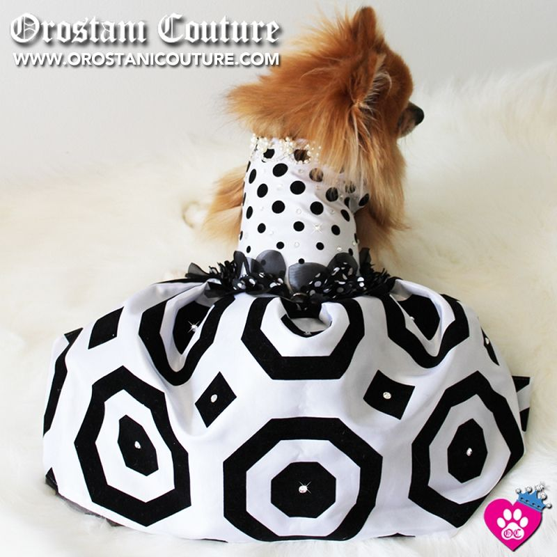 Polka Dot Black White Geometric Glamour Dog Dress Custom made to order for your pampered pooch. www.orostanicouture.com