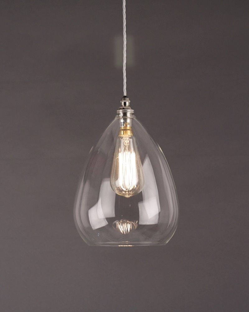 contemporary glass lighting. Teardrop Clear Glass Ceiling Pendant Light, Wellington Contemporary Lighting